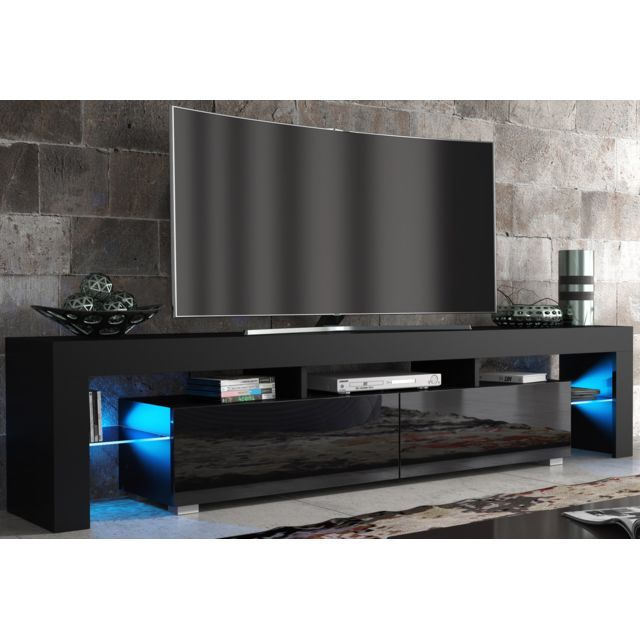 dusine meuble tv spider big led en noir mat avec portes noir laqu 200 cm blanc pas cher. Black Bedroom Furniture Sets. Home Design Ideas
