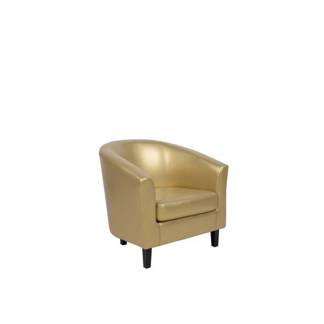 BELIANI Fauteuil en simili-cuir doré MOSS - or