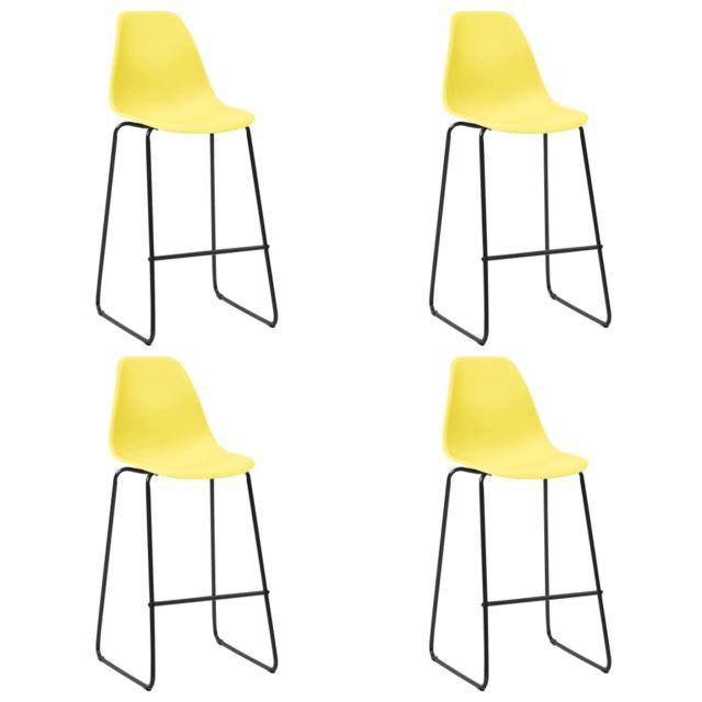 Admirable Fauteuils et chaises gamme Dacca Chaises de bar 4 pcs Jaune Plastique
