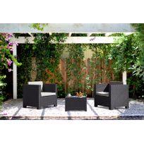 Concept Usine - Ankara : Salon de jardin 2 places effet résine tressée gris