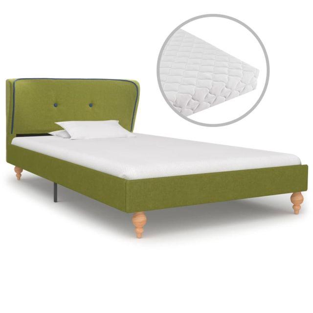 Vidaxl Lit avec matelas Vert Tissu 90 x 200 cm