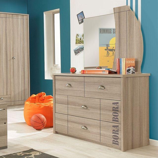 Tousmesmeubles Commode 3 tiroirs + Miroir - Zanzibar - L 105 x l 46 x H 157