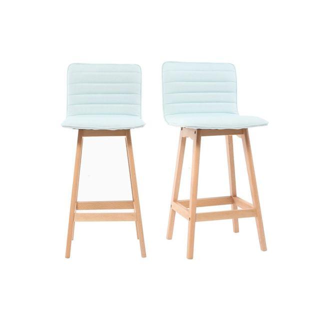 miliboo tabouret de bar design bois et menthe l 39 eau 65 cm lot de 2 emma pas cher achat. Black Bedroom Furniture Sets. Home Design Ideas