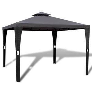 Rocambolesk - Superbe Tonnelle en polyrotin avec toit gris foncé 3 x 3 m Neuf
