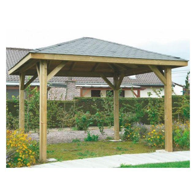 Dedans Dehors - Kiosque en bois Solid 4 poteaux 19m