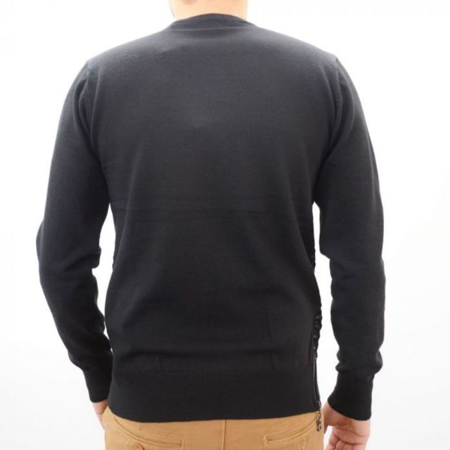 e12ebac94e2 Prestige Man - Pull homme noir avec motifs sur torse - pas cher ...