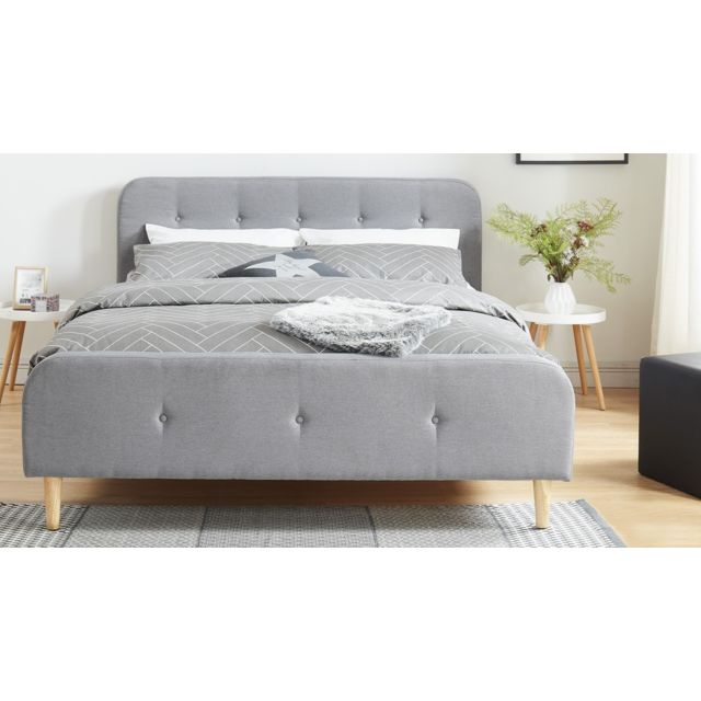 homifab lit adulte scandinave en tissu gris clair capitonn sommier latte 160x200. Black Bedroom Furniture Sets. Home Design Ideas