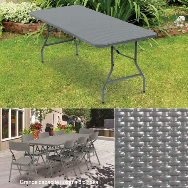 Table pliante d\'appoint effet résine tressée grise 180 cm pour camping ou  réception