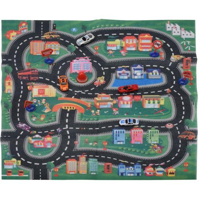 tapis de jeu route avec 4 voitures accessoire de jeux. Black Bedroom Furniture Sets. Home Design Ideas