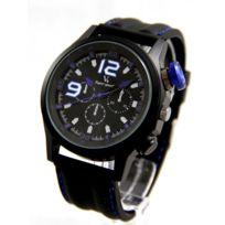 V6 Montre Homme - Montre pour Homme Bracelet Silicone Noir V6 2153