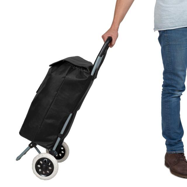 Chariot de courses pliable avec 2 roues et pliable à l/'arrière panier
