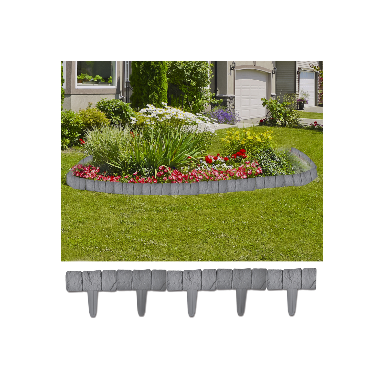 Justdeco - Superbe Bordure de jardin imitation pierre 41 pièces 10 m Neuf