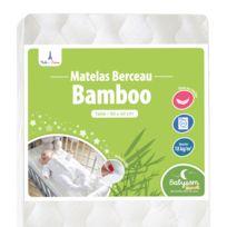 Babysom - Matelas bébé de Berceau Bamboo - 90x40cm - Forme Rectangulaire - Déhoussable - Garantie 2 ans - Fabrication Francaise - Déhoussable