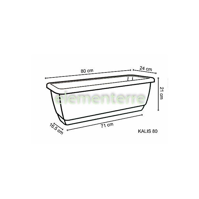 Euro3PLAST - Jardinière balcon Kalis 80 cm terre-cuite matière plastique