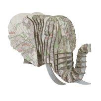 Cardboard Safari - Tête Eléphant en Carton Recyclé Los Angeles - Taille M