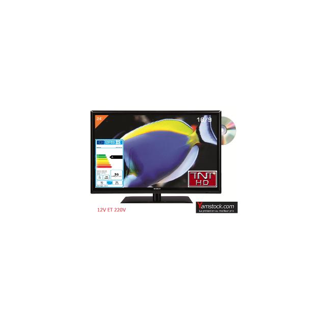 Antarion Télévision Tv + Dvd Led 24 Hd 12V /220V camping car