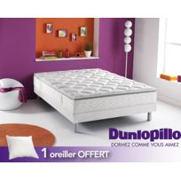 Dunlopillo - 1 Oreiller Offert - Ensemble : Songe + Sommier Dunlosom + Pieds cylindriques coloris aluminium