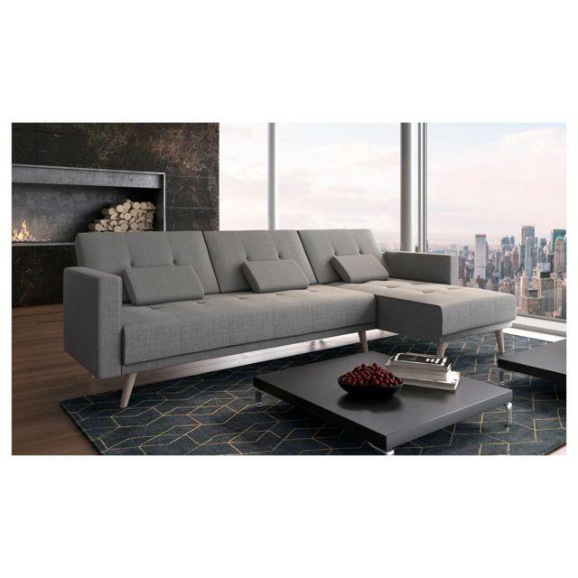 Comfort Canapé d'angle convertible Verona 267cm, convertible en lit, réversible, gris clair