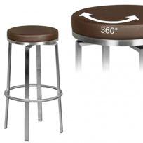 moins cher d69c6 2a69f Tabouret de bar en acier inoxydable brun design pivotant 360° L. 37 x P. 37  x H. 76 cm collection C-Archard