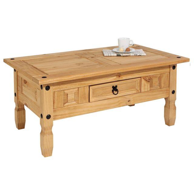 IDIMEX Table basse de salon SALSA rectangulaire en bois style mexicain avec 1 tiroir, en pin massif finition teintée/cirée