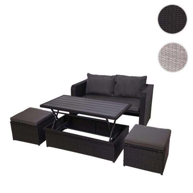 Mendler Ensemble de meubles en polyrotin Hwc-g78 pour balcon, jardin, Lounge-Set ~ noir, coussins gris foncés