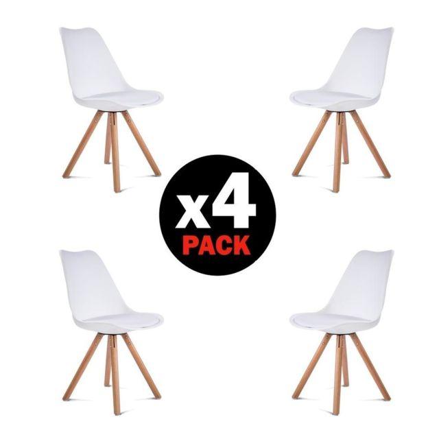 Comfort - Home Innovation - Lot de 4 chaises Scandinaves Freya, Blanc et pieds bois de hêtre, chaises de salle à manger style Scandinave Blanc. Bois.