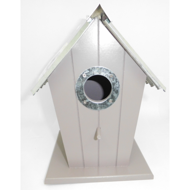 sans nichoir oiseau en forme de maison en bois avec toit en m tal 564 pas cher achat. Black Bedroom Furniture Sets. Home Design Ideas