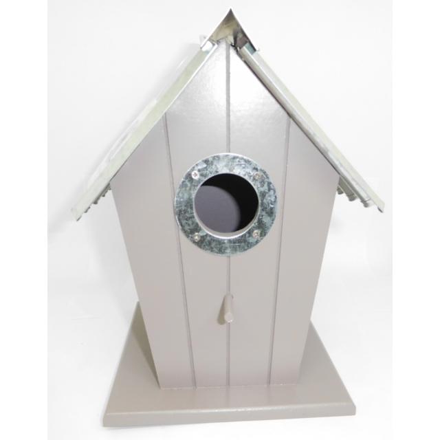 Nichoir Oiseau En Forme De Maison En Bois Avec Toit En Metal 564