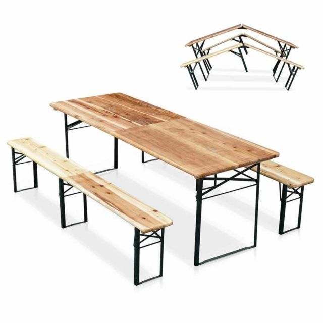 Wood Decor Table de brasserie pliante bancs bois en