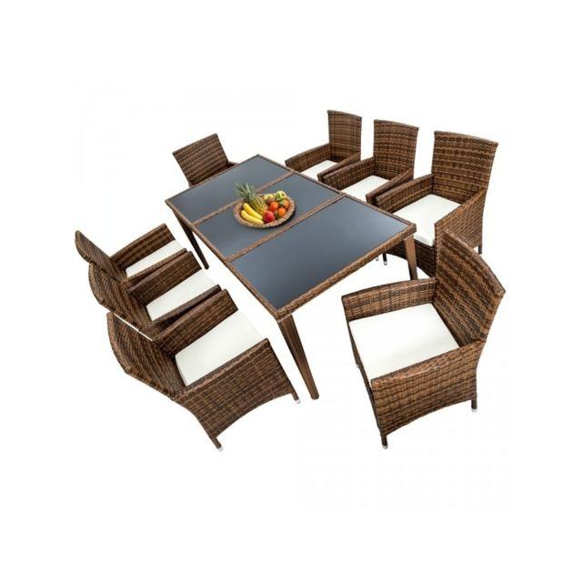 Helloshop26 salon de jardin 8 chaises rotin r sine - Table de jardin tresse pas cher ...