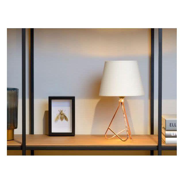 Lampe à poser trépied chromée hauteur 30 cm Gitta Blanc Cuivre