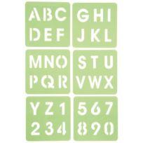 Dtm - pochoir plastique alphabétique et chiffre - paquet de 6
