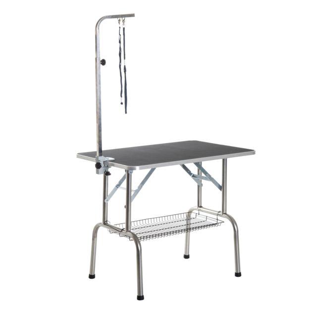 Homcom Table De Toilettage Pliante Avec Potence Et Panier 90