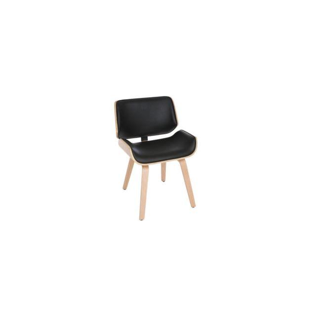 Miliboo Chaise design noir et bois clair Rubbens