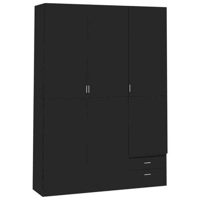 Uco Garde-robe à 3 portes Noir brillant 120x50x180 cm Aggloméré