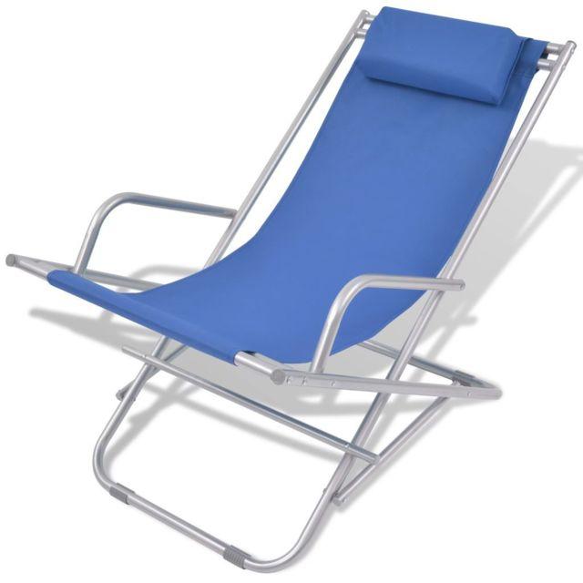 Icaverne - Bains de soleil ensemble Chaise inclinable de terrasse 2 pcs Bleu Acier 69 x 61 x 94 cm