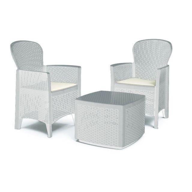 Ipae-progarden Set Salon en résine rotin table basse fauteuils coussins blanc Trec08BI