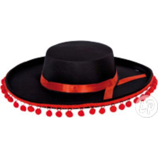 6bfdac7ccb4b9 Coolminiprix - Lot de 12 - Chapeau espagnol avec pompons noir & rouge -  Qualité - pas cher Achat / Vente Articles de fête - RueDuCommerce