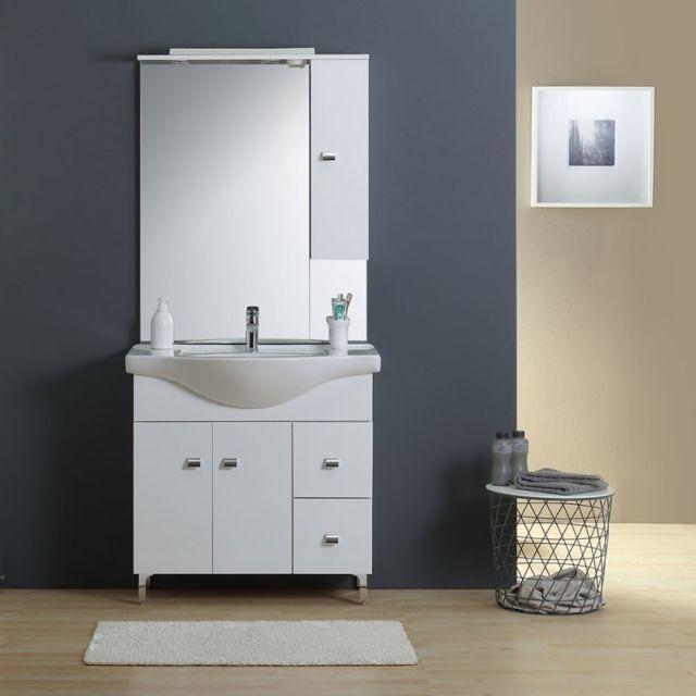 Meuble-lavabo Salle De Bains 86 Cm, Miroir-armoire Couleur Blanc