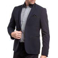 Cent's - Veste de costume bleue à coudière noire
