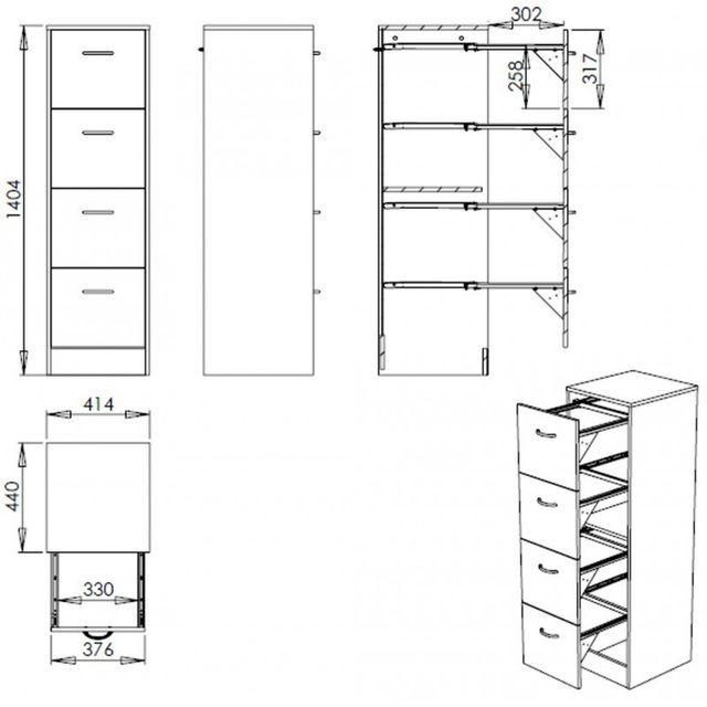 Simmob - Meuble classeur 4 tiroirs pour dossiers suspendus - Coloris - Merisier 41.4cm x 140.4cm x 44cm