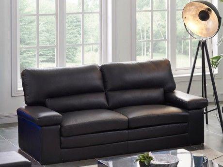 marque generique canap 3 places en cuir de buffle mimas noir achat vente canap s pas chers. Black Bedroom Furniture Sets. Home Design Ideas