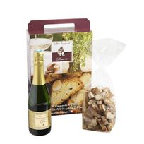 Le Pere Craquant - Coffret cadeau Sucré Craquants aux amandes 250g et bouteille Clairette 37.5cl