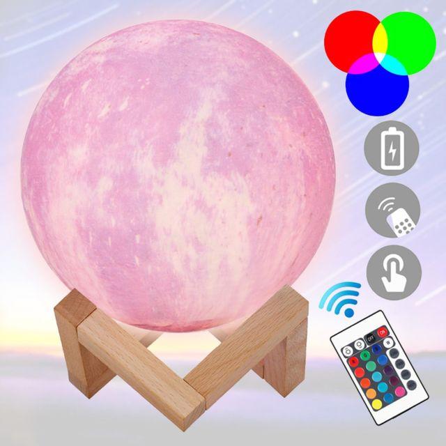 Lampe de lune colorée à impression 3D Led Lampe de lumière de nuit de lune étoilée avec support télécommande