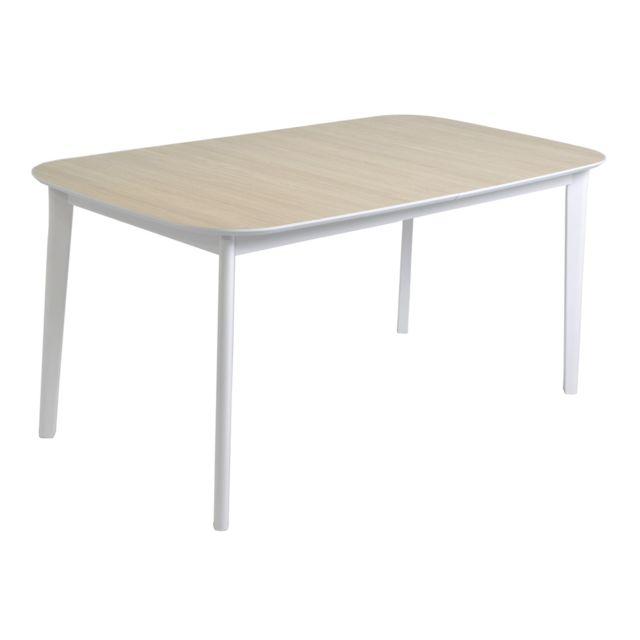 Habitat et Jardin Table de séjour extensible Block - 160/200 x 90 x 76 cm - Décor chêne