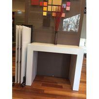 Giovanni - Table console extensible Royale laque blanc avec range allonges