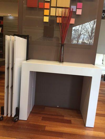 Giovanni Table console extensible Royale laque blanc avec range allonges