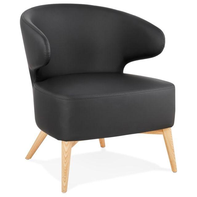 Alterego Fauteuil lounge 'NORMAN' noir et pieds en bois finition naturelle
