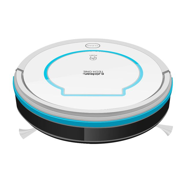 E-ZICLEAN Aspirateur robot TECH ONE Robot aspirateur e.ziclean TECH ON - Blanc - 60 dB - Autonomie : 60 min - Temps de charge : 4,5h - Capteurs de vide et d'obstacles - Surface min/max : 20/75 m² - Capacité : 320 ml