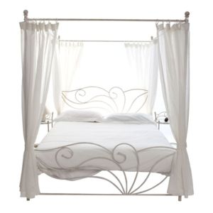 miliboo lit baldaquin baroque 2 personnes venezia blanc noir pas cher achat vente. Black Bedroom Furniture Sets. Home Design Ideas